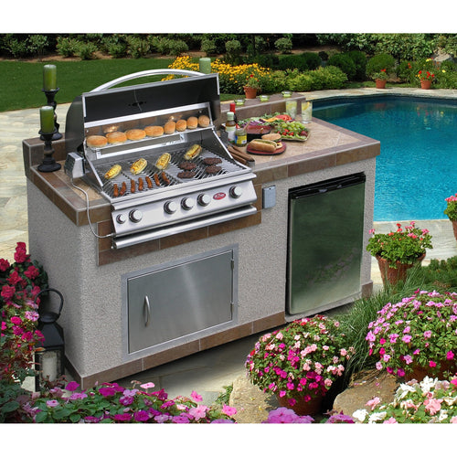 Barbecue Grill Outdoor Kitchen 4-burner Island Tile Counter Refrigerator BBQ Backyard