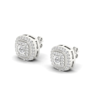 diamond stud earrings white halo round cut women jewelry
