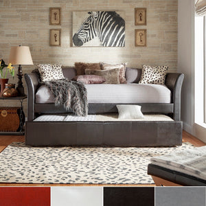 Daybed w/Trundle Twin Roll-Out Space-Saving Deco Faux Leather iNSPIRE Q Bold
