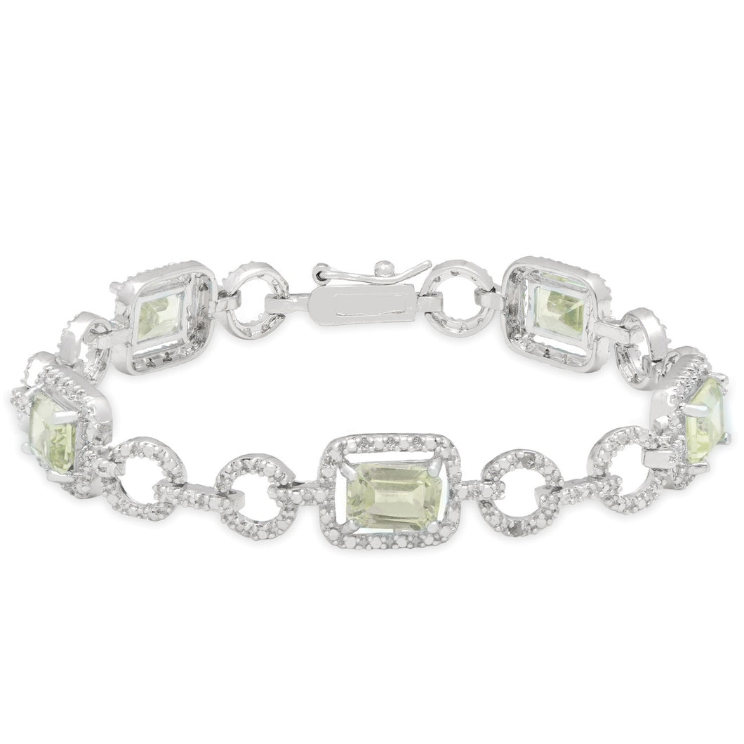 Mother's Day Bracelet Diamond Sterling Silver Green Amethyst Accent Link Jewelry - FruitPaunch Gifts