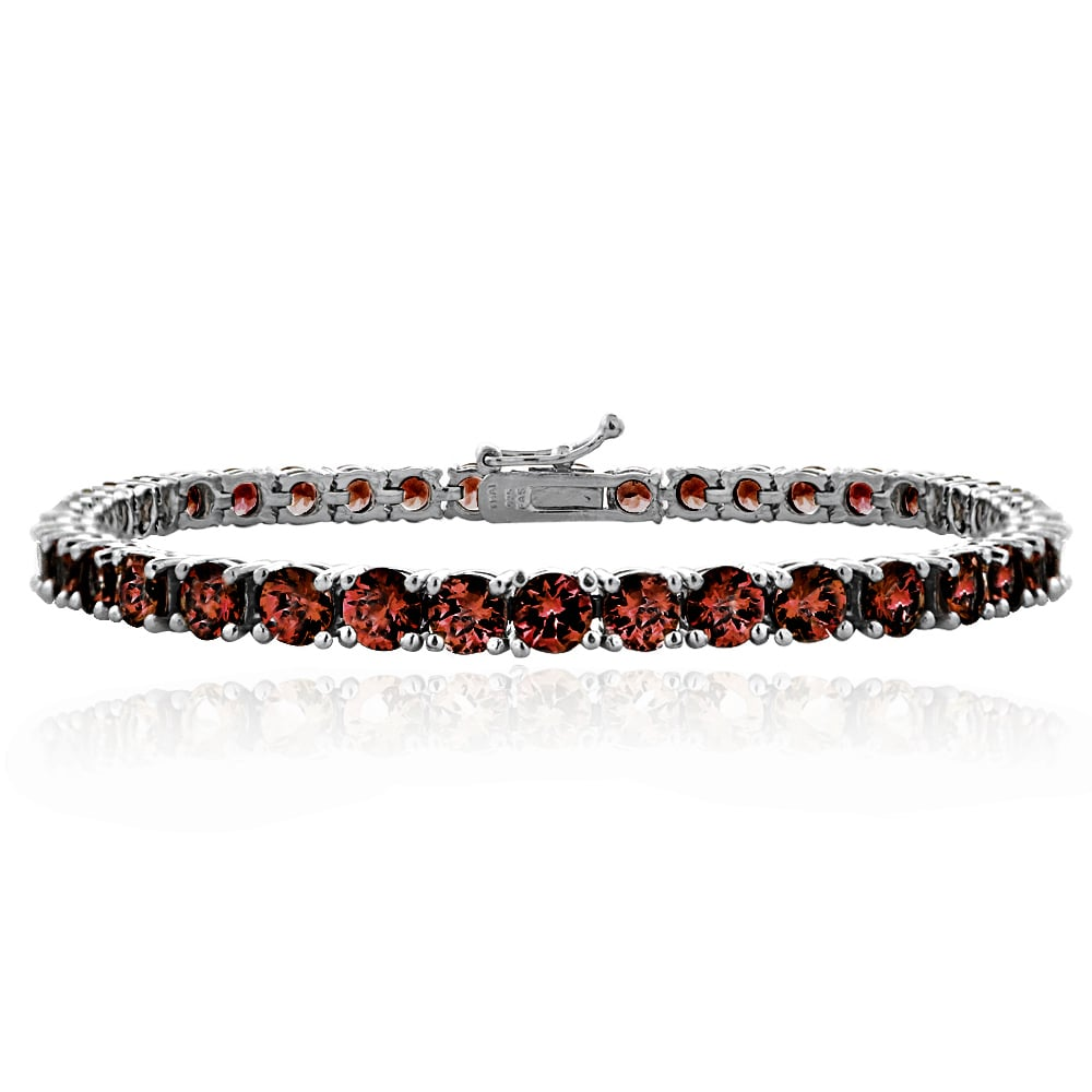 Tennis Bracelet Women's Sterling Silver 14CT African Garnet Round Mom Gift Jewelry - FruitPaunch Gifts