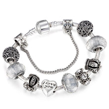 Charm Bracelet Women Vintage Royal Crown Heart Crystal Love Silver-Plated Romantic