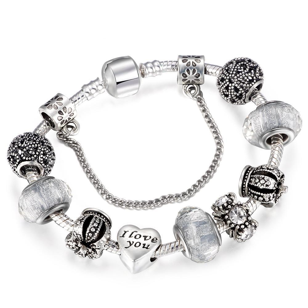 Charm Bracelet Women Vintage Royal Crown Heart Crystal Love Silver-Plated Romantic Jewelry - FruitPaunch Gifts