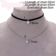 Trendy Leather Choker Necklace with Crystal Charm - Layer Necklaces & Pendants for Women/Girls - Gothic Collar Necklace Fashion Jewelry