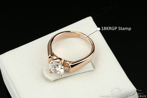 Engagement Rings Cubic Zirconia Anel Style -Allergy Free-1.25 Carat Round Cut Cubic Zircon-Silver/Rose Gold Color Wedding Jewelry For Men/Women