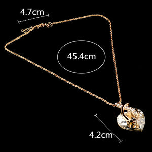 Austrian Crystal Heart Pendant Necklaces For Women - Classic Gold Color Statement Necklace - Ethnic Jewelry Green Maxi Bijouterie
