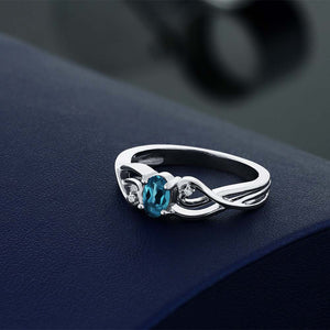 White Diamond Engagement Rings With Oval Natural London Blue Topaz In 925 Sterling Silver | Engagement  Ring For Women