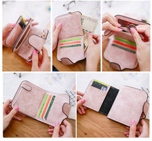 Wallets For Women Small w/Snap Fastener Zipper Short Clutch Wallet| Solid Colors Fashion Small Female Purse Short Purse Vintage Matte Women Wallet | Gifts For Women