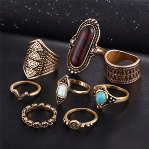 Midi Ring Set 8 pcs Boho Jewelry Stone for Women | Vintage Tibetan Turkish Silver Color - Flower Knuckle Rings Gift