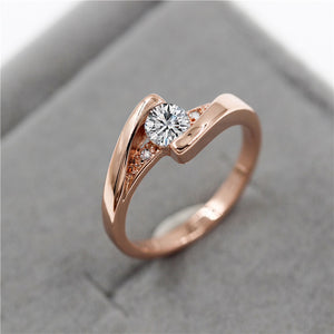 Crystal Wedding/Engagement Jewelry Ring for Women | Crystal Engagement Cubic Zirconia Ring Rose Gold Color | Anillos Style Ring For Girls & Women
