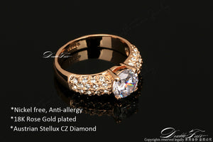 Engagement Wedding Rings With Cubic Zirconia Silver/Rose Gold Color -CZ Stone Ring Jewelry For Women - Anel Style