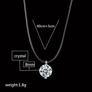Crystal Necklace Women Cubic Zirconia Pendant Elegant Simple Chain Jewelry - FruitPaunch Gifts