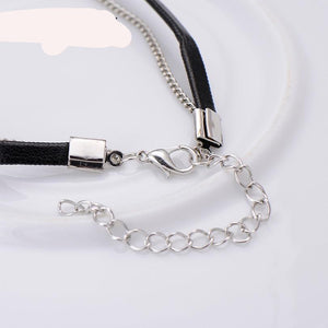 Choker Necklace Trendy Leather with Cubic Zirconia Crystal Charm - Layer Necklaces & Pendants for Women/Girls - Gothic Collar Necklace Fashion Jewelry