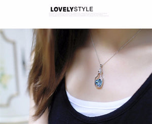 Pendant Necklace For Women w/Love Drift Bottles Blue Heart Crystal Pendant - High Quality Fashionable Women Chain Necklace