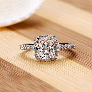 Engagement Ring For Women - White Silver Filled w/Cubic Zirconia Ring - Engagement Rings Silver