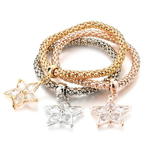 Rhinestone Gold Plated Tree of Life Charm Bracelets Popcorn Chain Jewelry Women-Free Shipping