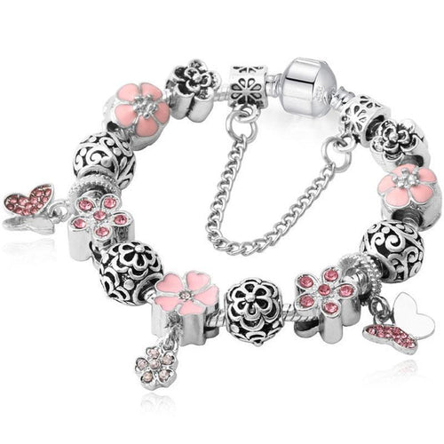 Charms Bracelet Silver+Crystal Women Flowers Snake Chain Jewelry - FruitPaunch Gifts