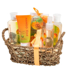 Mother's Day Mango Pear Spa Gift Set in Woven Antique Basket Gift Basket - FruitPaunch Gifts