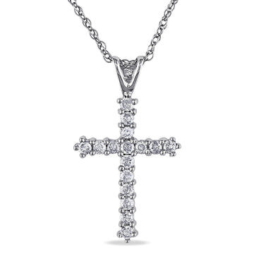 cross pendant chain necklace diamond 10K gold women jewlry