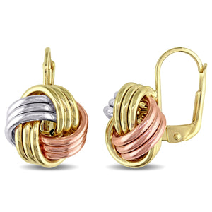 10k Tri-color Yellow, White/Rose Gold Italian Love Knot Miadora Leverback Dangle Earrings Jewelry - FruitPaunch Gifts