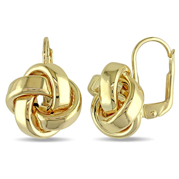 dangle earrings 10K gold love knot women jewelry