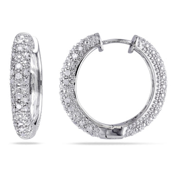 diamond hoop sterling silver earrings women jewelry