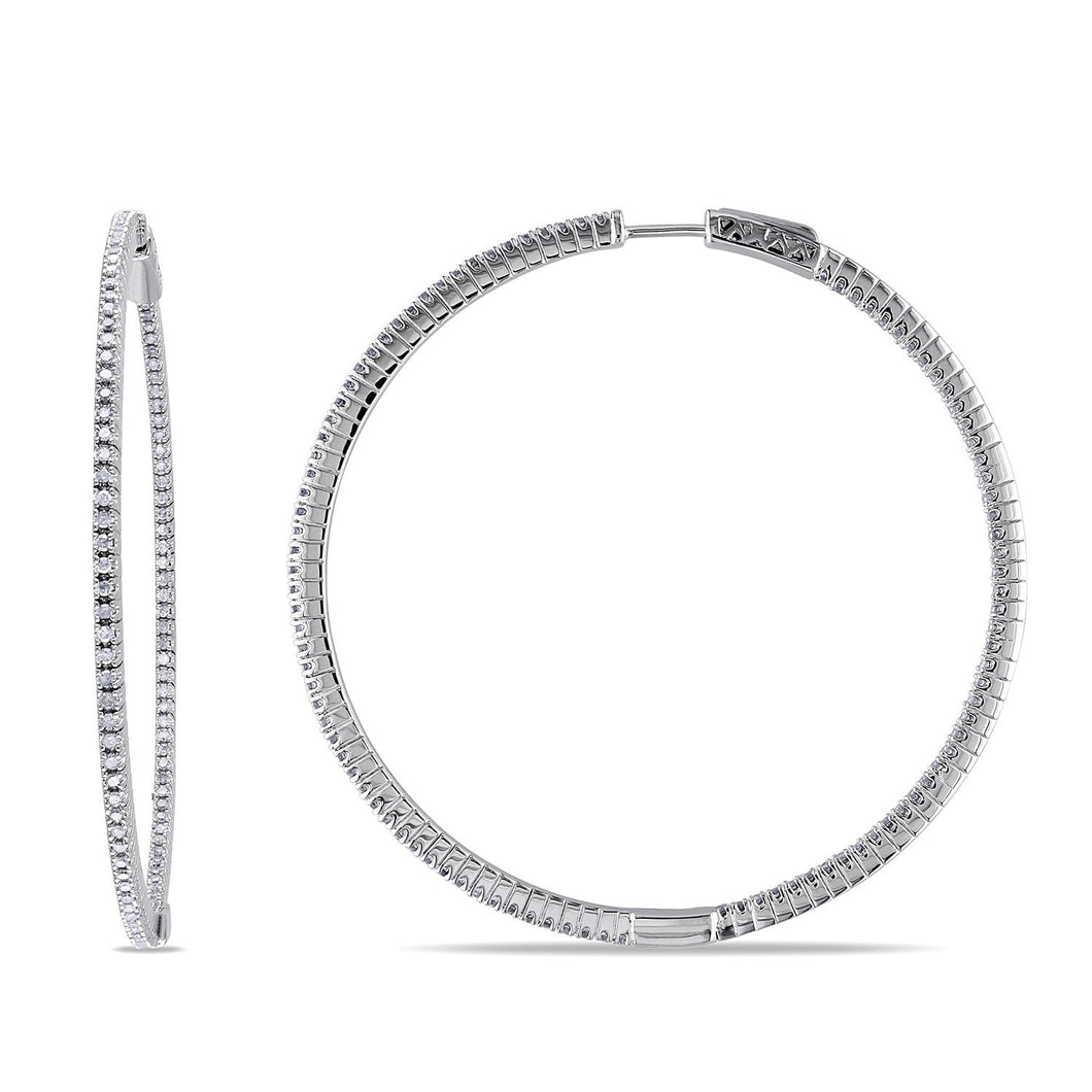 Diamond Hoop Thin Earrings Sterling Silver 1ct TDW Clip-In Round Cut H-I I2-I3 Women Jewelry - FruitPaunch Gifts