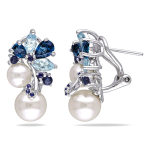 Freshwater Pearl, Blue Topaz Sapphire Cluster Sterling Silver Drop Earrings (6-8.5mm) Miadora Jewelry - FruitPaunch Gifts