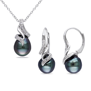Sterling Silver Tahitian Black Pearl+Diamond Accent Necklace & Earrings Set (9-9.5 mm) Miadora Jewelry - FruitPaunch Gifts