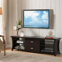 TV Stand Modern Storage Black/Cappuccino 2-drawer Open Shelf Gray Barn Elsinora Furniture Home - FruitPaunch Gifts