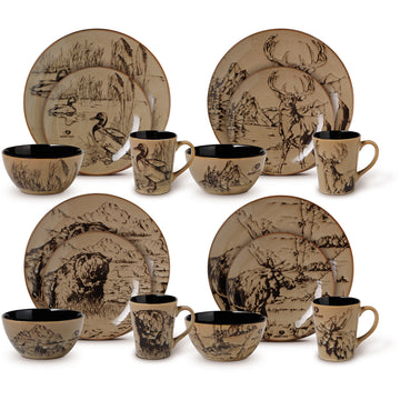 16 piece dinner set black brown nature design mossy oak