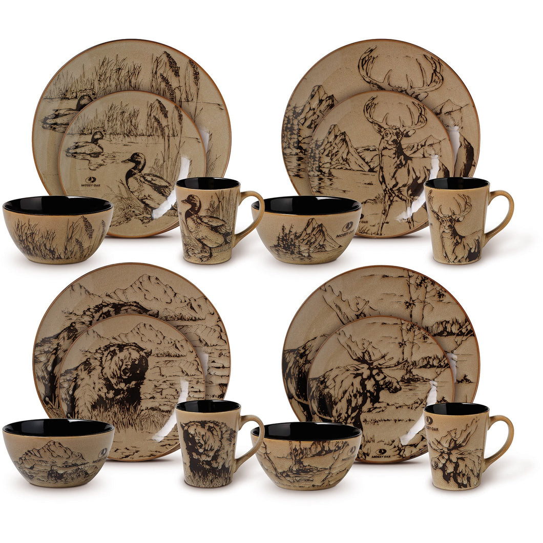 Dinnerware Set 16 Pcs Black Brown Nature Design Mossy Oak Dishwasher Microwave - FruitPaunch Gifts