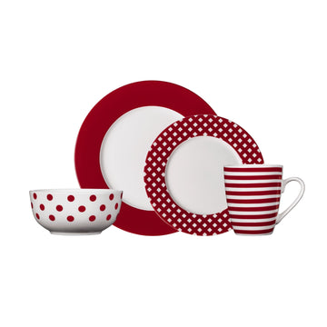 polka dots dinnerware set red and white 16pcs pfaltzgraff