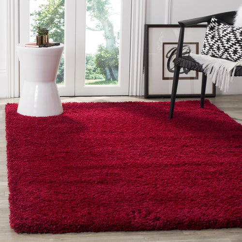 Area Rug Red Shag Living Bed Dining Home Office Room Luxurious Durable 3' x 5'