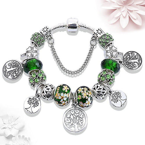 Bead Bracelet Charm Sterling Silver+Crystal Tree of Life Green Floral Women Jewelry - FruitPaunch Gifts