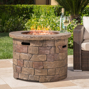 Stillwater Outdoor Natural Stone Propane Fire Pit w/Lava Rocks Christopher Knight Home