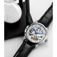 Stuhrling Men's Watches 371 Skeleton Dial Dual Time Sun Moon SS Automatic Leather Band - FruitPaunch Gifts