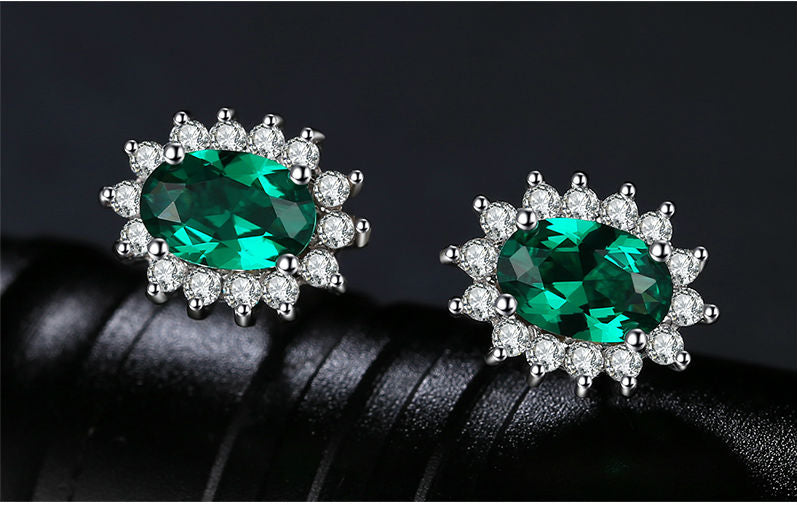 Emerald Stud Earrings w/925 Sterling Silver - Diana Inspired - Great For Wedding Gifts