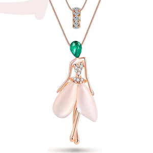 Cute Angel Fairy Necklace Opal Pendant Figure Cat Eye Crystal Chain | New 2017 Zinc Alloy Girl Women Fashion Jewelry Accessories