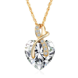 White Austrian Crystal Heart Pendant Necklace Women - Fashion Jewelry 4 colors - Gold Color Love Necklaces & Pendants Collars