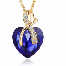 Blue Austrian Crystal Heart Pendant Necklace Women - Fashion Jewelry 4 colors - Gold Color Love Necklaces & Pendants Collars