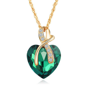 Green Austrian Crystal Heart Pendant Necklace Women - Fashion Jewelry 4 colors - Gold Color Love Necklaces & Pendants Collars
