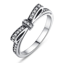 Authentic 925 Sterling Silver Sparkling Bow Knot Stackable Ring - Women Wedding Jewelry