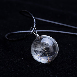 Pendant Necklace For Women With Crystal Glass Ball Dandelion Pendant- Long, Strip Leather Chain Pendant Necklaces For Women - Jewelry Gift