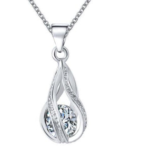 Pendant Necklace with Crystal Water Drop Pendant On Chain- Gold & Silver Color - Maxi Necklaces for Women Gift