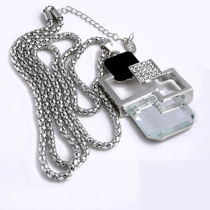 Pendant Necklace With Lovely Hollow Geometric Big Crystal Pendant On Long Chain Fine Jewelry Women Sweater Chain - FruitPaunch Gifts