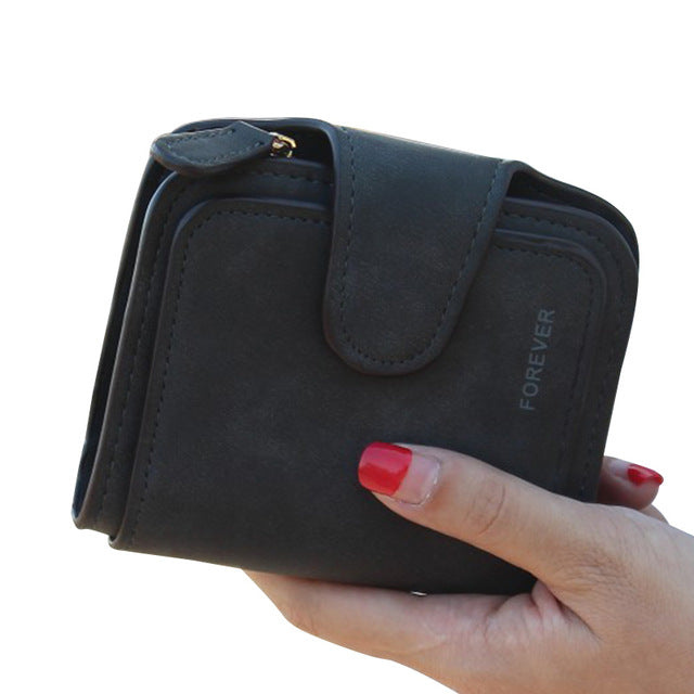 Black Snap Fastener Zipper Short Clutch Wallet| Solid Colors Fashion Small Female Purse Short Purse Vintage Matte Women Wallet | Gifts For Women