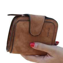 Brown Snap Fastener Zipper Short Clutch Wallet| Solid Colors Fashion Small Female Purse Short Purse Vintage Matte Women Wallet | Gifts For Women