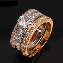 Anti Allergy (Nickel Free) 3 Rounds Cubic Zirconia Crystal Engagement Ring | Rose Gold Color Crystal Wedding Jewelry For Women