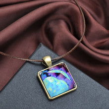 Glowing Crystal Glow-in-the-Dark Pyramid Pendant, Outer Space Star Dust Necklace - Triangle Geometric Magic Necklace
